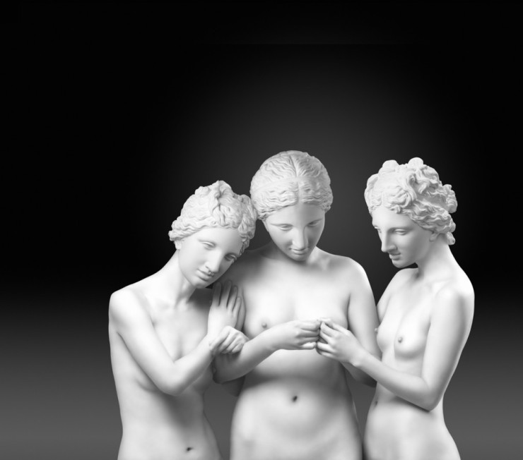 "Secretive Three Graces, Lightjet print, 60"" x 67"" 2008"